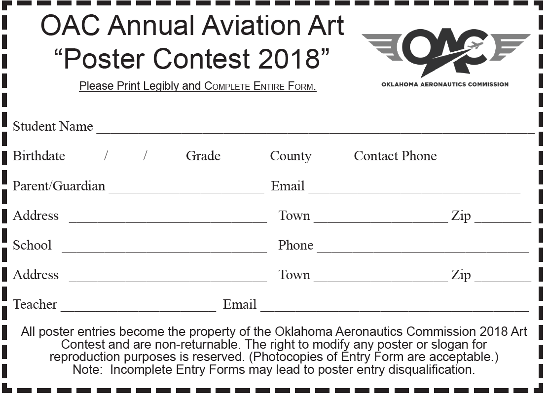the wall sweepstakes entry form art contest oklahoma aeronautics commission 3988